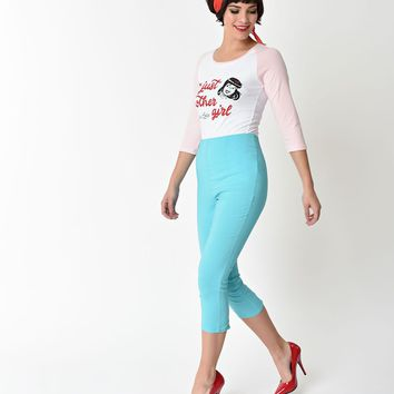 Hell Bunny Retro Style Turquoise Tina High Waist Stretch Capri Pants