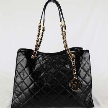 ONETOW MICHAEL KORS SUSANNAH Black Quilted Leather LG Shoulder Tote Bag Msrp