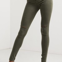 Ripped Knee Stretchy Denim in Blush, Burgundy, Camel, Brown, Olive, Khaki, Mauve,Teal, Grey and Black