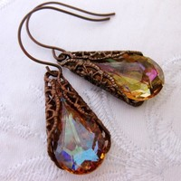 Brandy Swarovski Crystal Tear Drop and Chocolate Patina Wrap Bra - Wedding Jewelry | Handmade