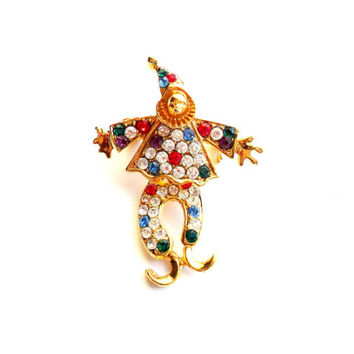 Vintage Articulated Clown Brooch Rhinestone Colorful Rainbow Pierrot Wiggle Legs Dancing Gold Tone Metal