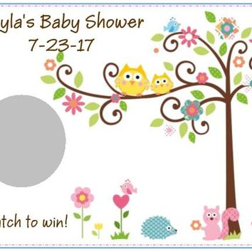 10 Happi Tree Owl Baby Shower and Birthday Party Scratch Off Card Game