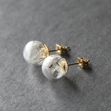 Dandelion seed stud earrings Make A Wish glass bead orb, gold transparent round earring, bridesmaid gifts, real plant necklace good luck