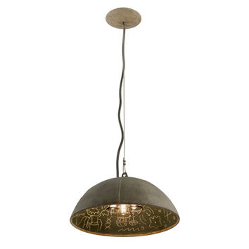 Troy F3653 Relativity Salvage Zinc Three-Light Medium Pendant with Chalkboard Interior