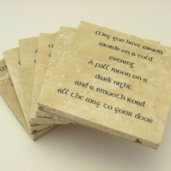 Irish Blessing Travertine Coasters  - Set of 6 - Trinity Crossing