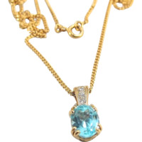 Stamped 18K solid gold aquamarine and diamond necklace, French fine gold jewelry