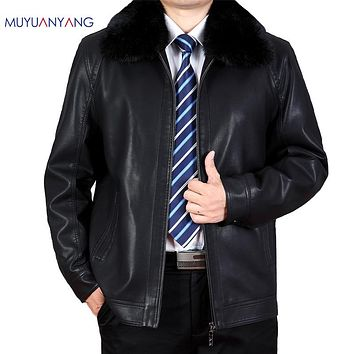 Winter Leather Jacket Men Rabbit Fur Collar Leather Coats Velvet Thicker Male Overcoat Clothing
