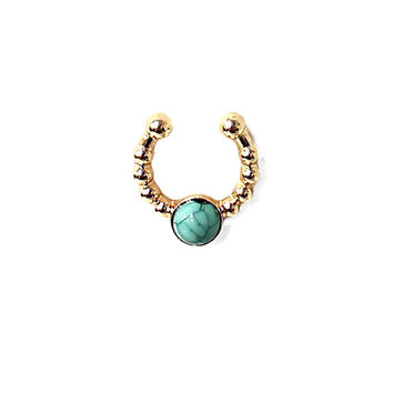 Boho Gold Clip On Turquoise Septum Ring, Tribal Faux Nose Piercing