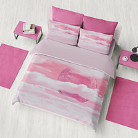 Pink Planet Duvet Cover or Comforter, Pink and white, bedroom, sci fi, her world