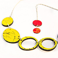 Yellow wooden statement summer short necklace Red collar handpainted necklace Bold and chunky freeform necklace