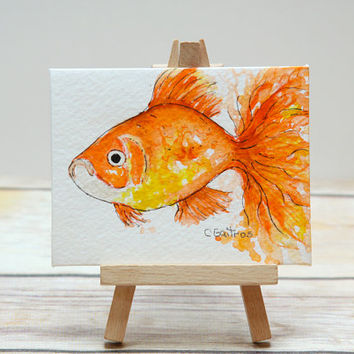 Orange goldfish nursery art, original mini watercolor and easel. Tabletop decor office decor, desk art.  Minimalist mini painting with easel