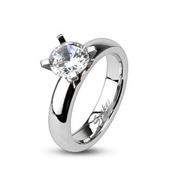 Clear CZ Solitaire Prong Set Ring 316L Stainless Steel