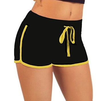 Women's Elastic Lounge Shorts Waist Supersoft Stretch White Outline Active Shorts