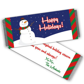 Snowman Candy Wrappers - Christmas Holiday Party Favors - Christmas Candy Bar Wrapper - Personalized Printabled or Printed Labels - Boy Kids