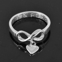 infinity ring,hand stamped ring,infinity knot ring,sterling silver ring,best friend ring,promise ring,personalized ring, infinity heart ring