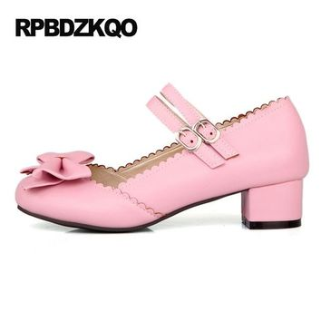 Mary Jane 2017 Ladies Bow Pink Big Size Cute High Heels Strap Chunky Round Toe 11 43 Sweet Lolita Shoes Low 4 34 Korean Pumps