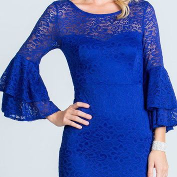 Royal Blue Scoop Neck Lace Fitted Short Cocktail Dress with Bell Sleeves