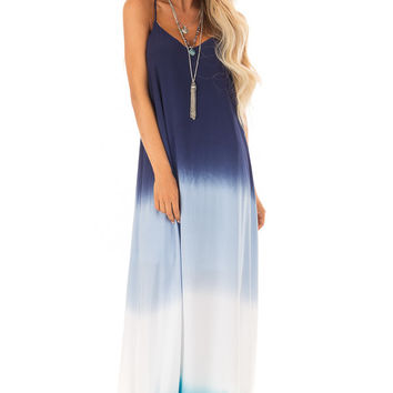 Ocean Blue Ombre Maxi Dress With Adjustable Halter Straps