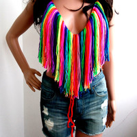 CROCHET RAINBOW TOP Summer Festival Top Fringes Rainbow Top Halter Tank Backless Music Top Retro Corset