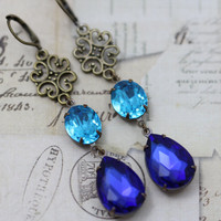 Sapphire & Aqua Blue Long Vintage Earrings India Morocco Style - Wedding Jewelry Bridesmaids Earrings Brass Clip On Available