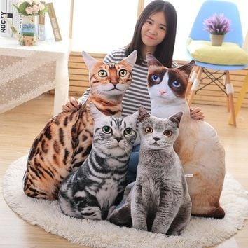 1pcs 50cm Soft 3D Simulation Stuffed Cat Toys Double-side Seat Sofa Pillow Cushion Cute Plush Animal Cat Dolls Toys Gifts