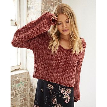 somedays lovin sweet skies chenille jumper / sweater in apricot