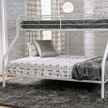Rainbow collection contemporary style white finish metal frame Twin XL over Queen bunk bed set