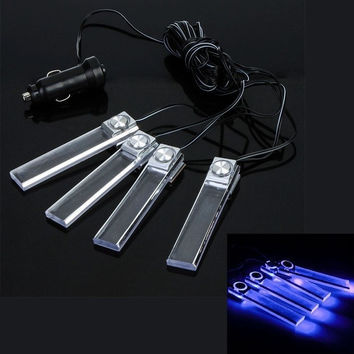 4 in 1 12V Car Auto Interior LED Atmosphere Lights Decoration Lamp Lighting Blue  K778BL Car Light Accessories (Color: Blue) = 1652965508