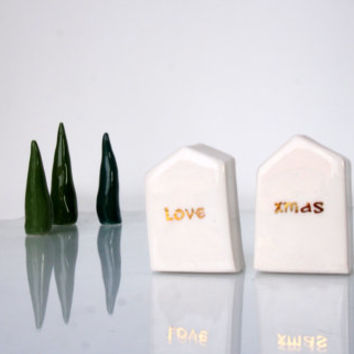 White and Gold Christmas home decor, Handmade Art and Sculpture Minimalist gift, Miniature ceramics house
