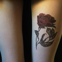 Red rose tattoo tights