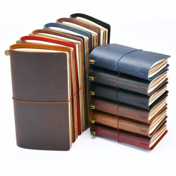 Genuine leather Notebook Handmade traveler's notebook vintage Cowhide diary journal sketchbook planner buy 1 get 10 accessories