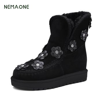 NEMAONE 2017 Genuine Leather Women Winter Plush Ankle Boots Female Platform Shoes Flats Warm Snow Boots Leather Chelsea Boots