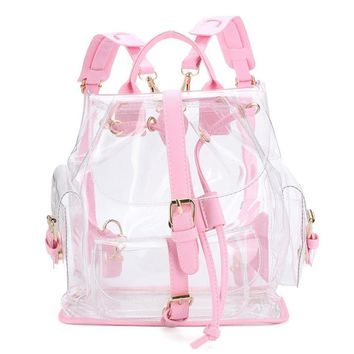 Xiniu Women's Backpack Clear Plastic See Through Security Transparent Backpack Bag Ladies Travel Bag #GHYW