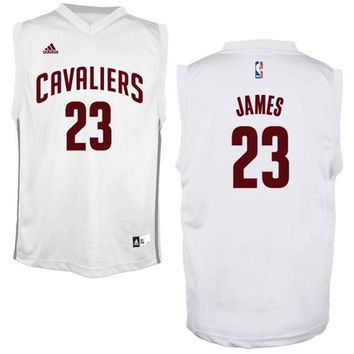 Youth Cleveland Cavaliers LeBron James adidas White Fashion Replica Jersey