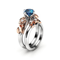 Topaz Engagement Ring Set White Gold Ring Rose Engagement Ring London Blue Topaz Ring