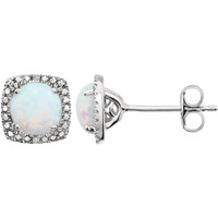 Sterling Silver Opal & .015 CTW Diamond Earrings