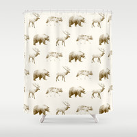 Wild Pattern // Brown Shower Curtain by Amy Hamilton