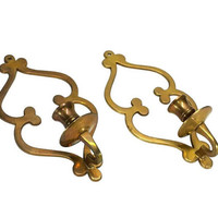 Scroll Brass Wall Sconces Candle Stick Holders Set Matching Pair Vintage