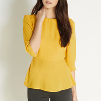 Tops & Blouses | Yellow Plain Peplum Long Sleeve Top | Oasis