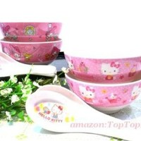 Sanrio Hello Kitty Melamine Cereal Rice Salad 2 Bowls And 2 Spoons Set