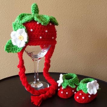 Crochet Strawberry Hat and Bootiess