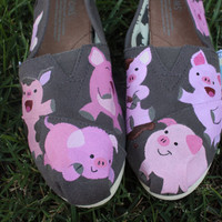 Pigs Original Custom Acrylic Painting for Toms/Canvas Shoes