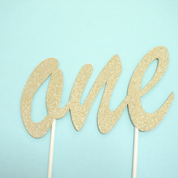 One Year Old Age Birthday Cake Topper in Glitter Gold
