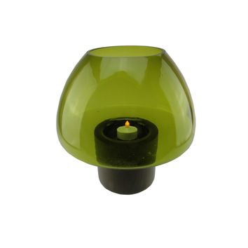 """9.75"""" Transparent Olive Green Glass Candle Holder with Wooden Base"""
