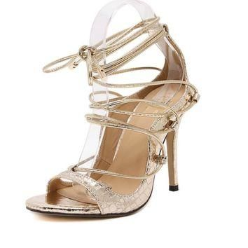 baibeiqi gold black zapatos mujer women bridal shoes gladiator sandals bandage strappy