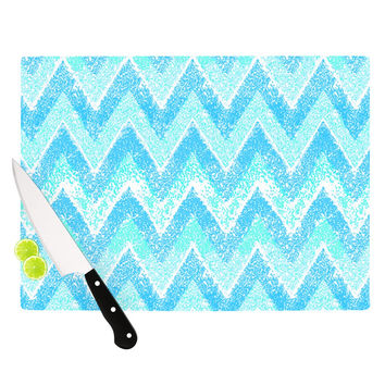 "Marianna Tankelevich ""Mint Snow Chevron"" Blue Chevron Cutting Board"