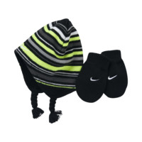Nike Striped Infant Knit Hat And Mittens Set (Black)