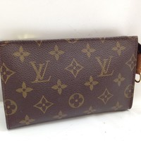 Auth Louis Vuitton Monogram Bucket Pouch 17 Brown Cosmetic Bag 8C070060M