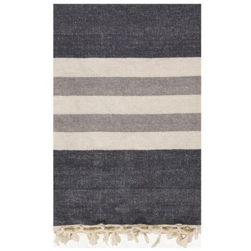 Lake Stripe Grey Throw Blanket