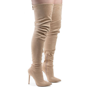 Giselle50 Nude F-Suede by Liliana, Thigh High Drawstring Stiletto High Heel Boots